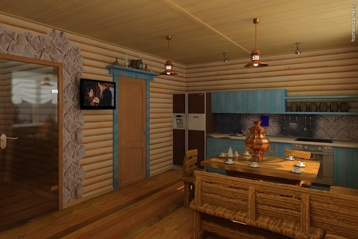 Комната отдыха в бане дизайн интерьера с кухней