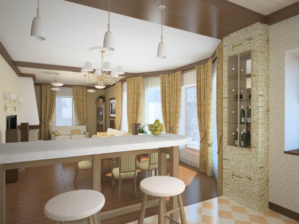 Кухня-гостиная планировка фото в частном доме