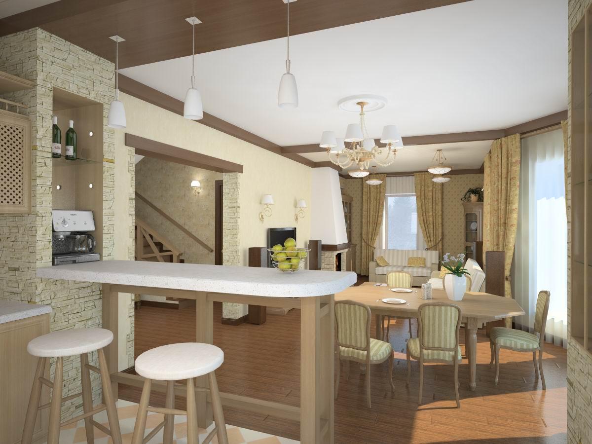 Дизайн гостиная с кухней фото