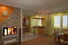 Гостиная с телевизором и барной стойкой