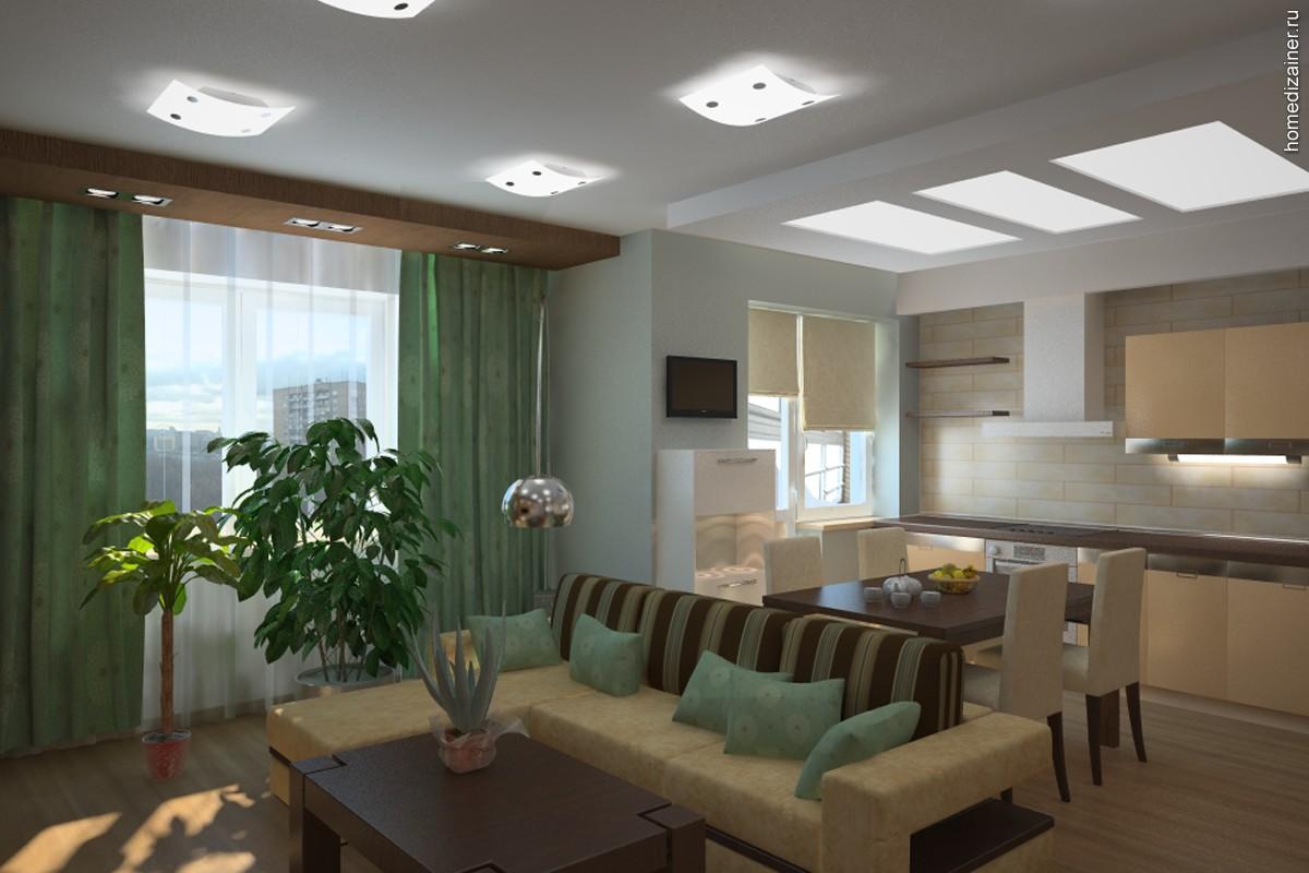 Кухня и гостинная совмещенные дизайн