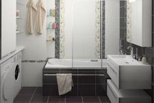 Фотография небольшой ванной комнаты, вид на ванну
