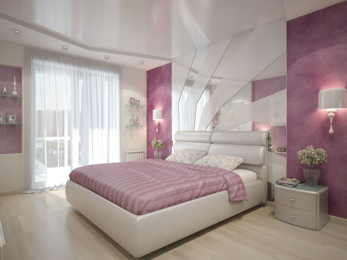 Спальня в розовых тонах фото