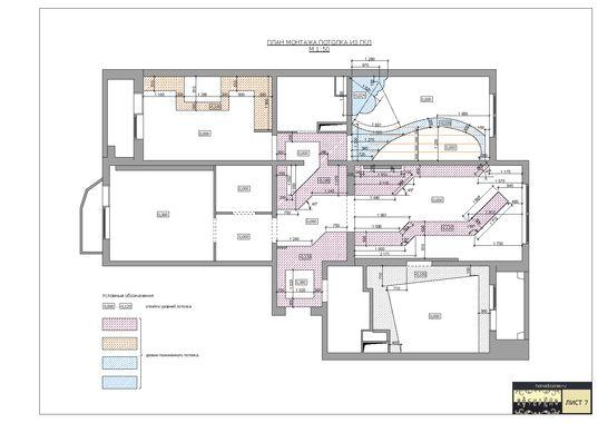 План монтажа потолка из ГКЛ